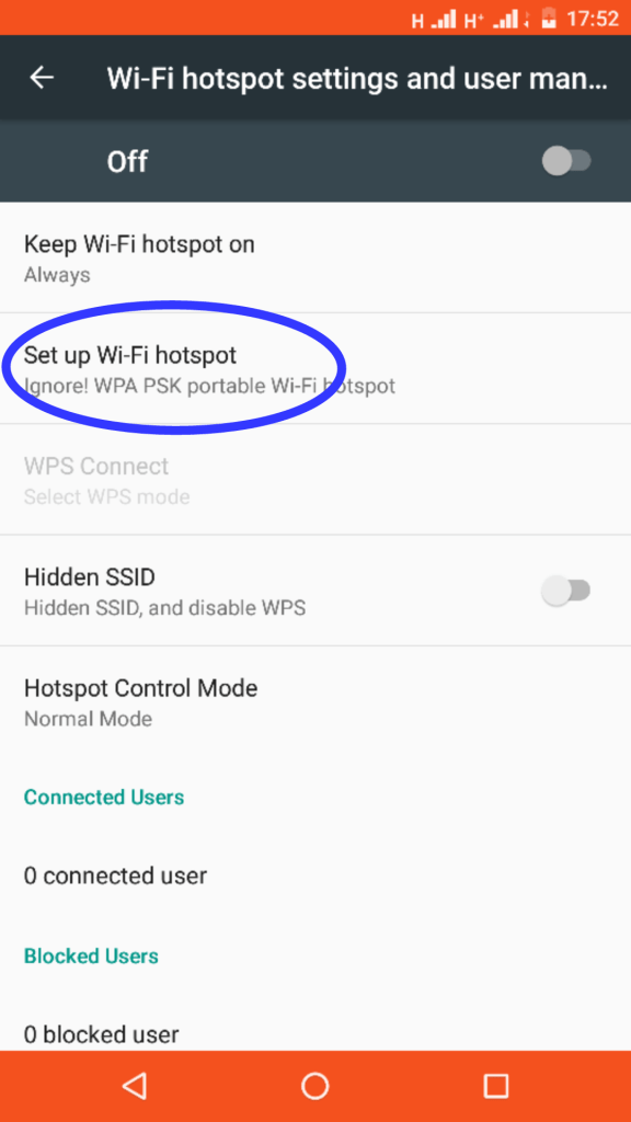 Mobile hotspot password