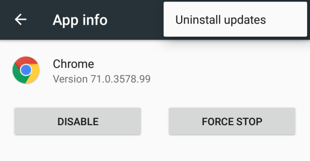 Uninstall Android app updates