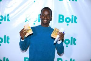 A journalist wins cash at the event after answering a question about Bolt