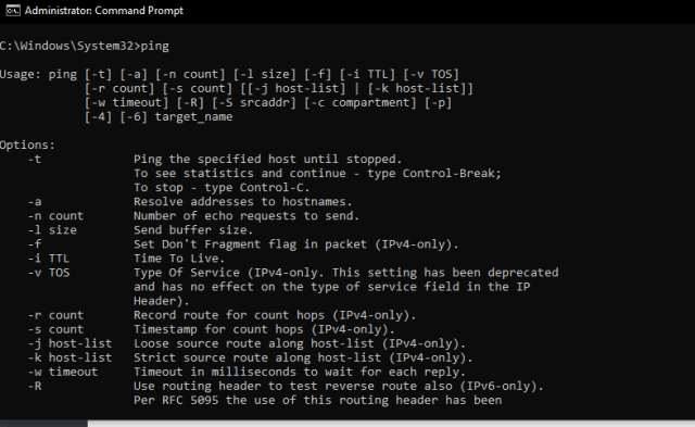 command prompt: ping