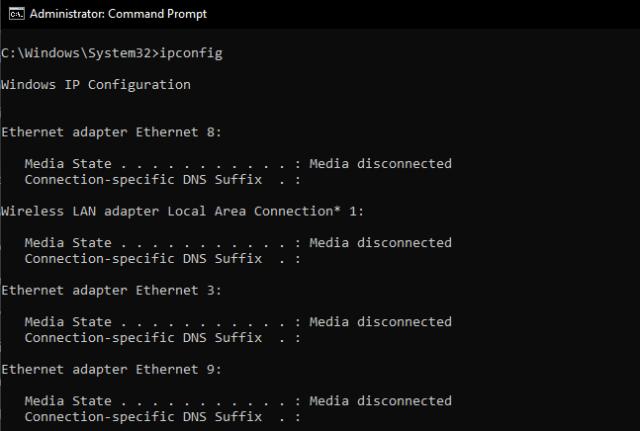 command prompt: ipconfig