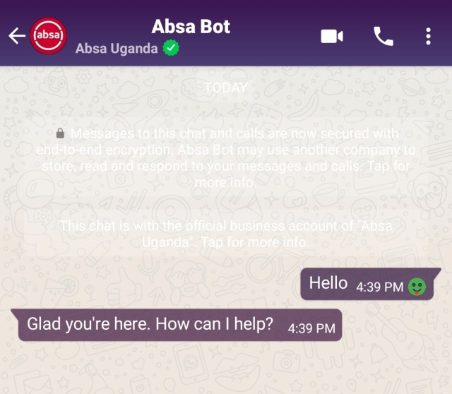 Absa Uganda whatsapp bot
