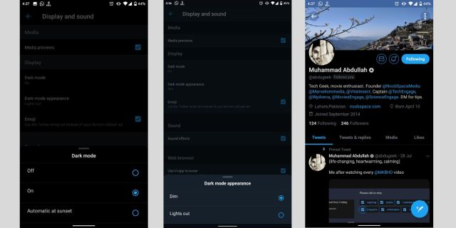 dark mode android