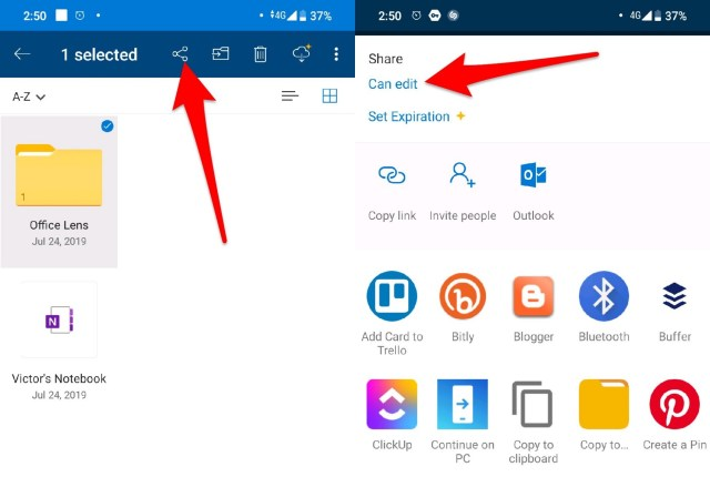 share files using OneDrive
