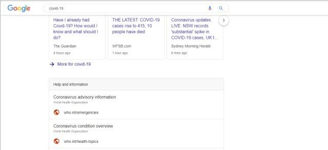 Google crisis response COVID