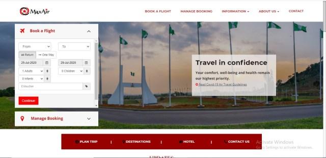 book flights online in Nigeria maxair