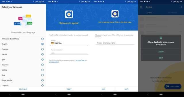 Ayoba app set-up