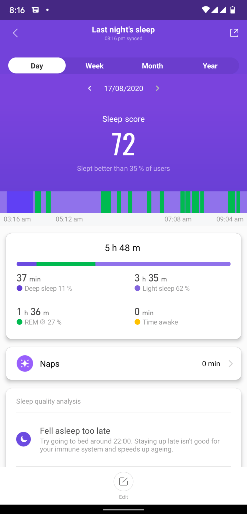 mi band sleep tracking