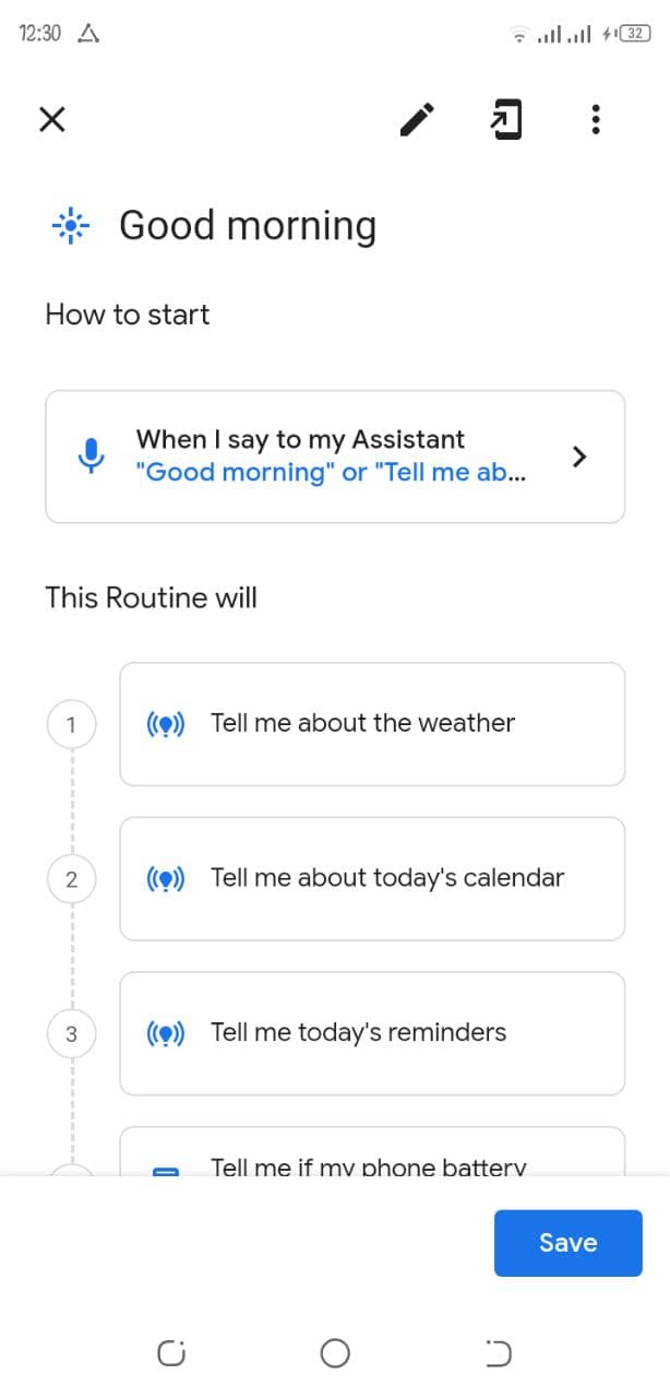 Google Assistant Morning Routines