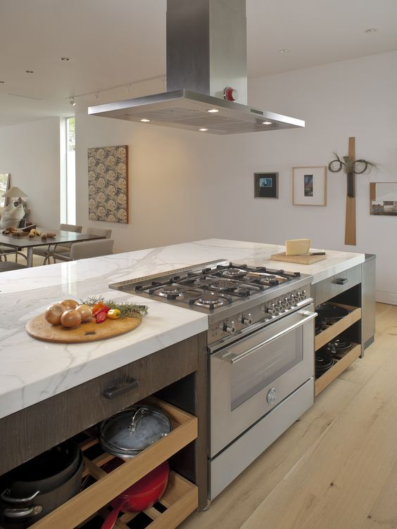 kitchen island stove open shelves 31 smart islands with built in appliances digsdigs a cooker