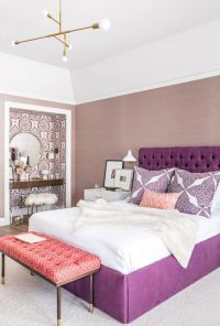 Picture Of purple tufted headboard