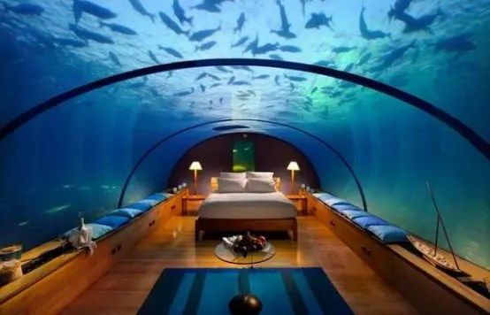 An Amazing Underwater Bedroom From Conrad Maldives Rangali Islands Resort (via <a rel=