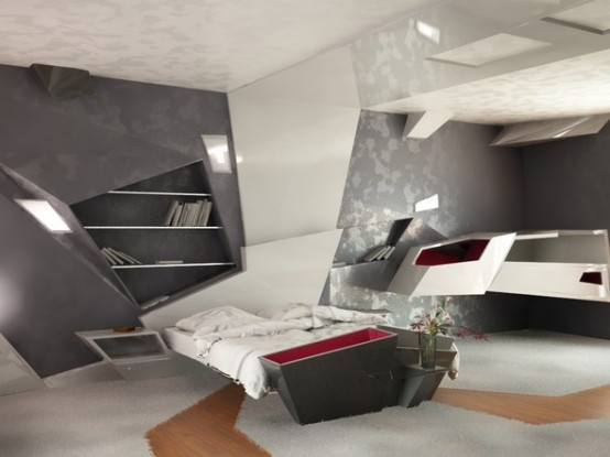 Futuristic Bedroom Design (via <a rel=