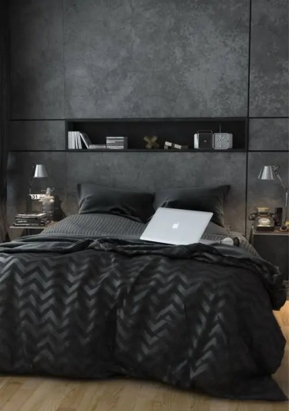 masculine bedrooms black bed 35 Awesome Bedding Ideas For Masculine Bedrooms - DigsDigs