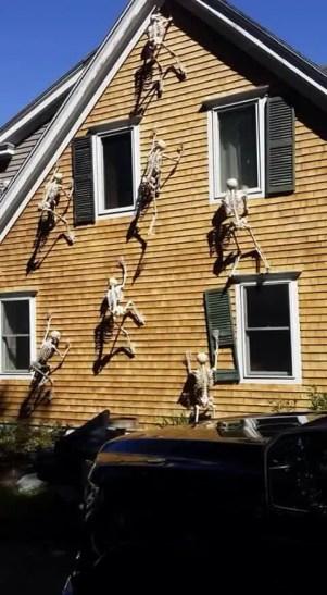Wacky Halloween Decorations Decor Skeletons Climbing House Skeleton Peeping Tom Broken Shutter