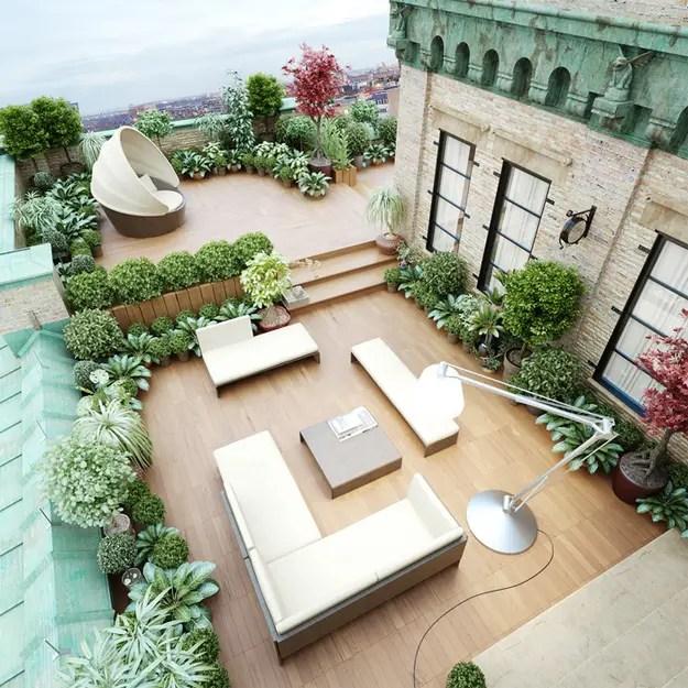 nagy zöld tetőterasz
