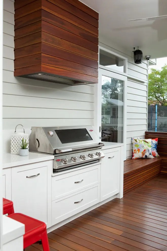 drop in grills for outdoor kitchens bridge faucets kitchen 95 cool designs digsdigs covering a cooking hood with wood planks could help to blend it deck