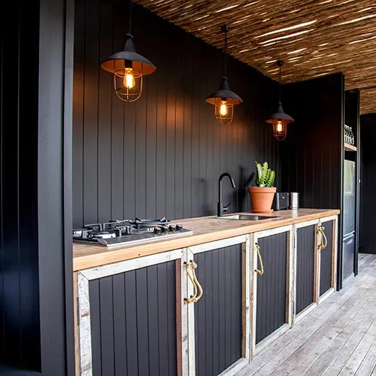 modern outdoor kitchen banquet 95 cool designs digsdigs black cabinets is a way to add some style your