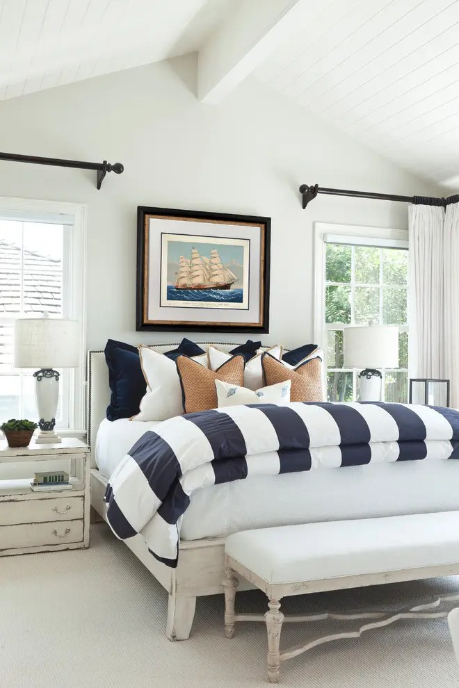 White And Blue Striped Walls Light Curtains Decorative Pillows Beautiful Bedroom Decor In Color Scheme
