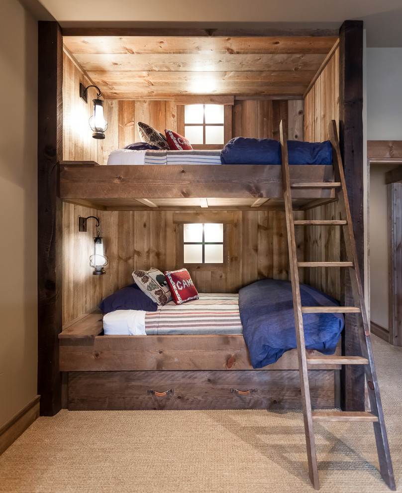 Wooden Interior Designs Wood Bunk Beds with Ladder in Kids Room