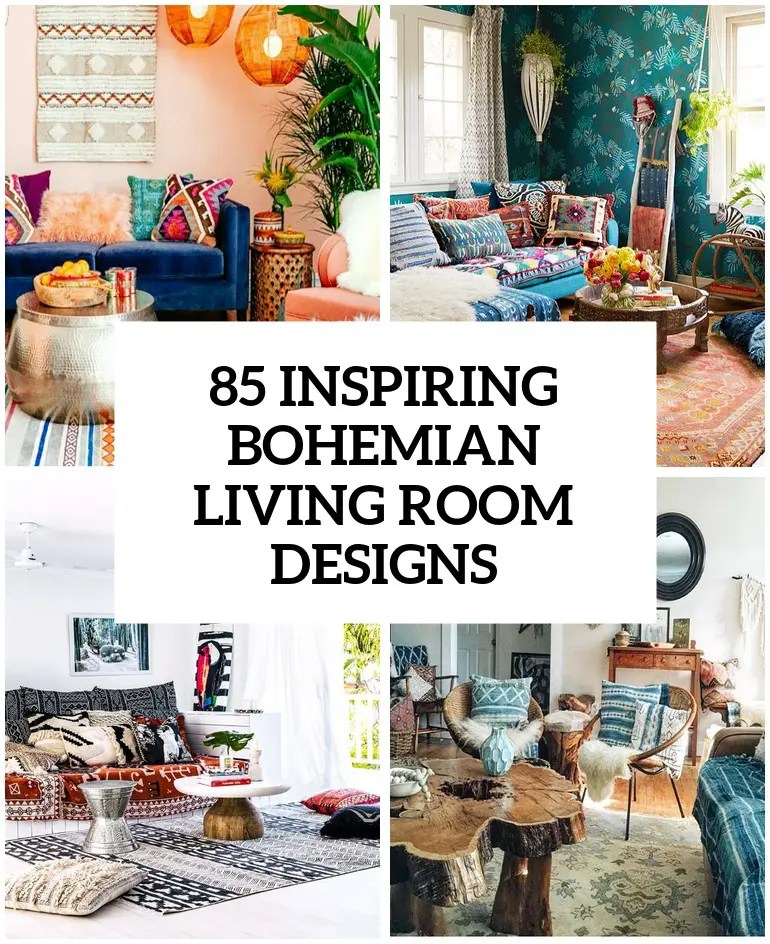 bohemian living room wall ideas full furniture sets 85 inspiring designs digsdigs