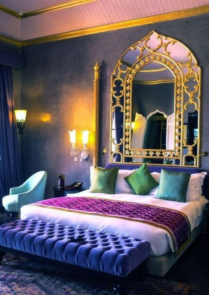 moroccan bedroom gold purple 70 Mysterious Moroccan Bedroom Designs - DigsDigs
