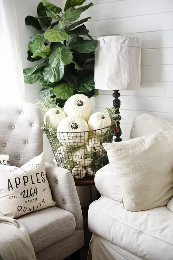 white pumpkins in a wire basket with greenery look harmonious in a neutral living room and add a fall touch to it