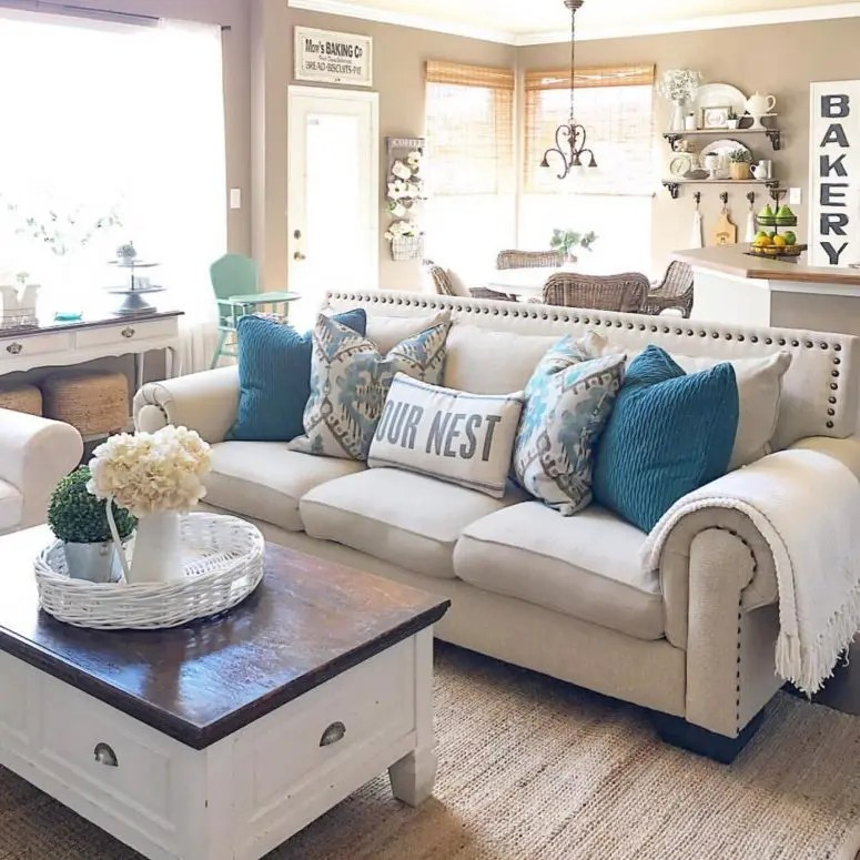 farmhouse living room chairs modern for the 45 comfy designs to steal digsdigs you can easily unite a with kitchen such space would look