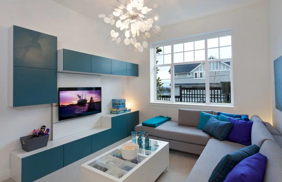 ikea floating cabinet living room rooms with grey walls 55 ways to use besta units in home decor digsdigs turquoise doors make this popular storage series look much more interesting great combo as
