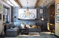 Cozy Industrial Living Room Design In Grey Tones - DigsDigs