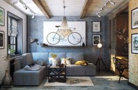 Picture Of This cozy grey living room is done in