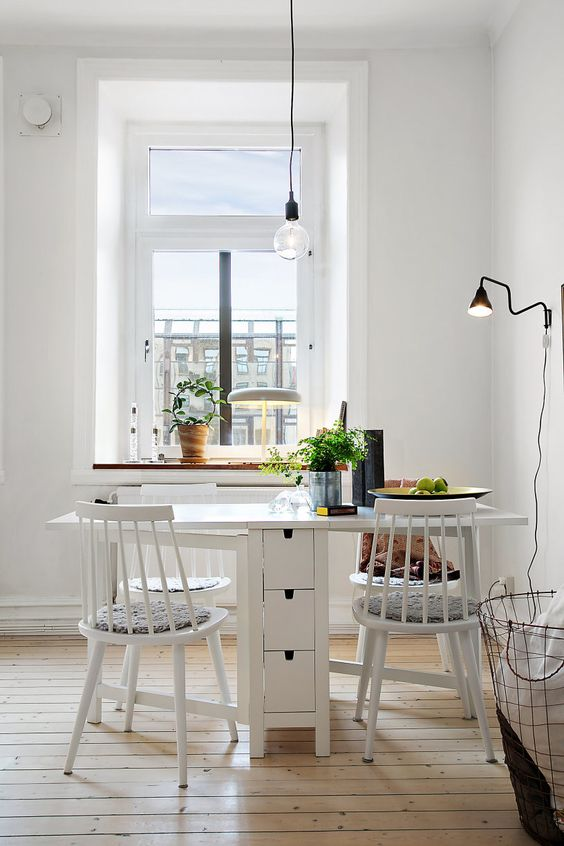 kitchen and dining room chairs metal outdoor cabinets 25 ways to use ikea norden gateleg table in décor - digsdigs