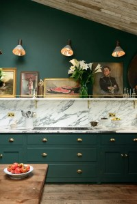 Victorian Green, Marble And Brass Kitchen Design - DigsDigs
