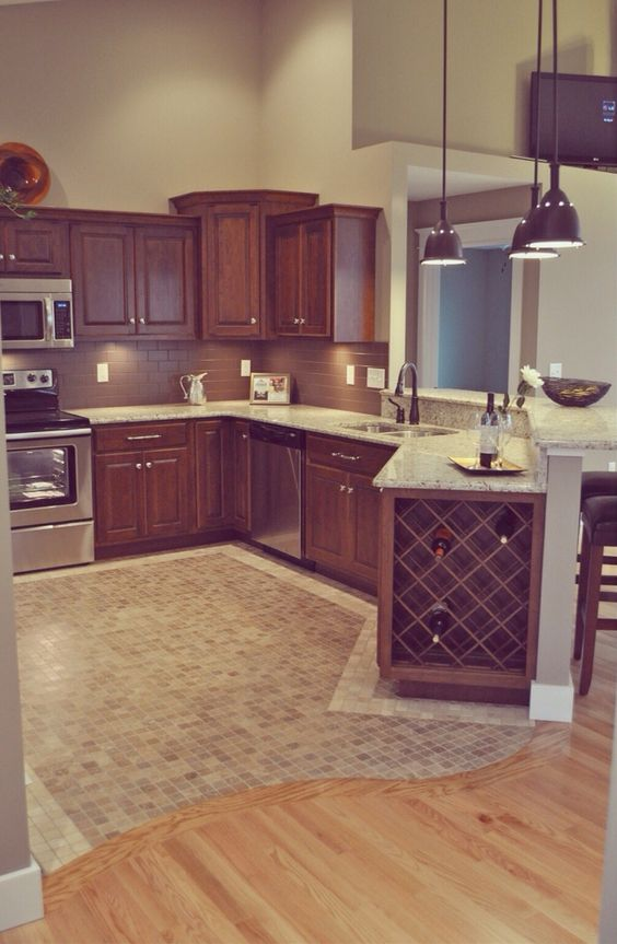 wood tile floor kitchen island countertops 4 ways and 26 examples to ease the transition digsdigs curved switch between wooden mosaic tiles in