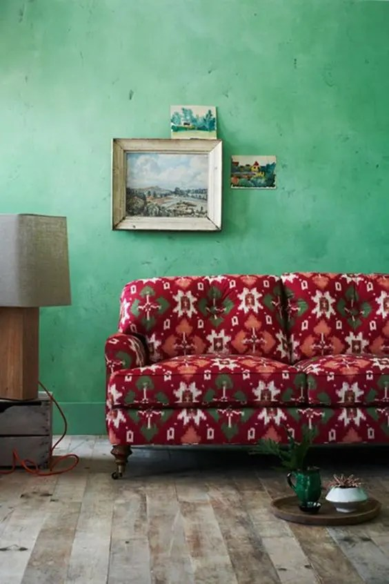 ideas for walls in living room best rug material 27 daring red and green interior décor - digsdigs