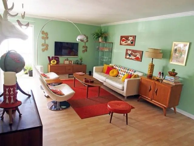 green and red living room chicago 27 daring interior decor ideas digsdigs mint walls of this mid century modern are balanced with a