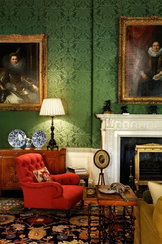 green and red living room persian rug rooms 27 daring interior decor ideas digsdigs damask walls a tufted chair