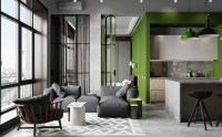 Industrial Chic Apartment With Bold Green Touches - DigsDigs
