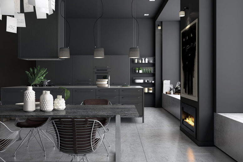 grey kitchen table and chairs canopy chair kmart moody monochromatic design with a masculine feel - digsdigs