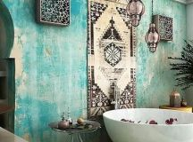 Picture Of turquoise boho luxe Moroccan bathroom