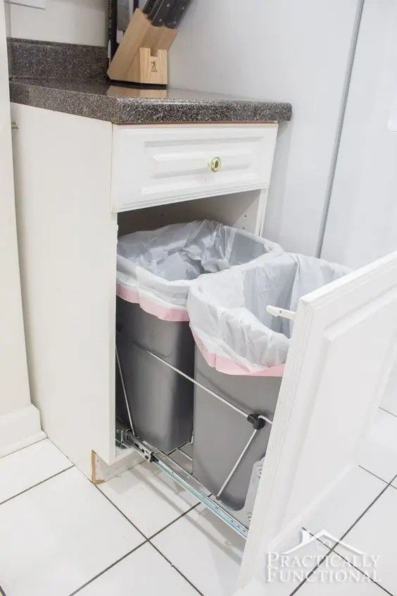 white kitchen trash can island on wheels with seating 47 smart ways to hide mess and household eyesores - digsdigs