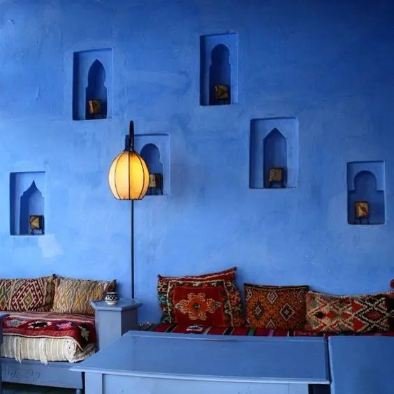 dark turquoise living room walls sideboard for 49 ways to bring moroccan flavor your interiors - digsdigs