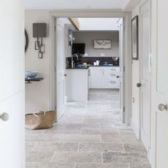 Stone Kitchen Flooring L Type Small Design 25 Ideas With Pros And Cons Digsdigs 19 Travertine Hallway Perfectly Matches The Interior Connect Spaces