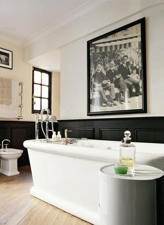 chair rail pros and cons single sleeper 33 wainscoting ideas with digsdigs art deco masculine bathroom black wainscot
