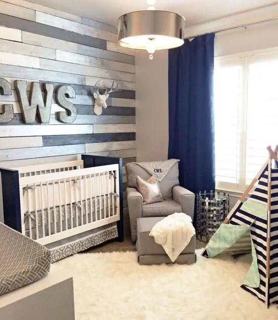 wood wall living room layout ideas uk 30 accent walls to make every space cozier digsdigs metallic perfectly accentuates a navy and grey nursery