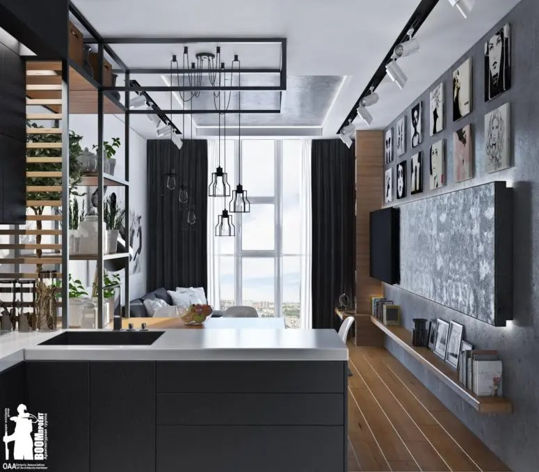 Laconic Grey And Black Kitchen United With A Living Space