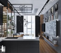 Laconic Grey And Black Kitchen United With A Living Space ...