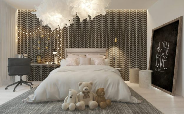 stylish girl's room with a patterned headboard wall - digsdigs