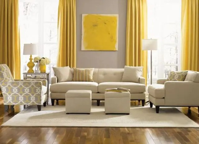 decorating ideas for living rooms with grey walls average size area rug room 29 stylish and yellow decor digsdigs dove wall contrasts sunny curtains an artwork the is infused