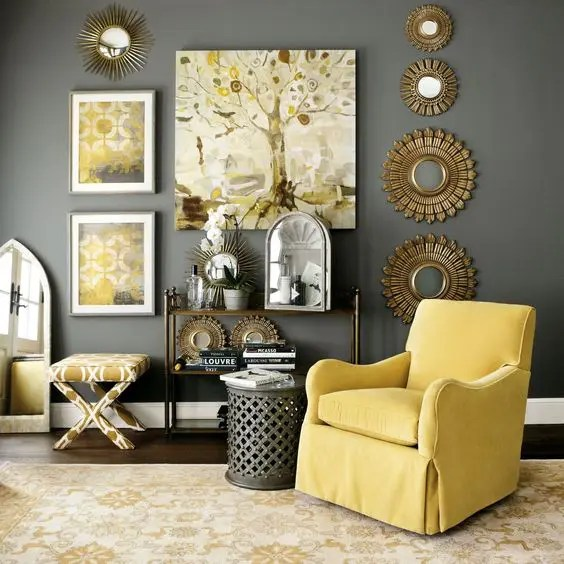 charcoal gray sofa ideas leather set india 29 stylish grey and yellow living room décor - digsdigs